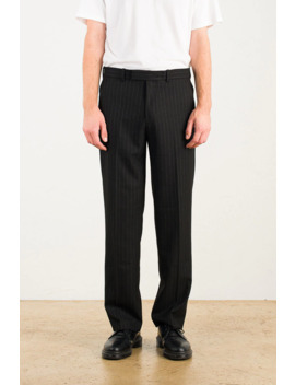 Menswear | Ervin Pinstripe Trousers, Black by Olive