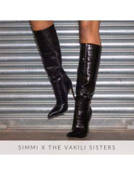Delia Black Croc Print Stiletto Knee Boots by Simmigirl