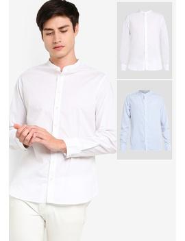 2 Pack Basic Stand Collar Long Sleeves Shirt by Zalora Basics