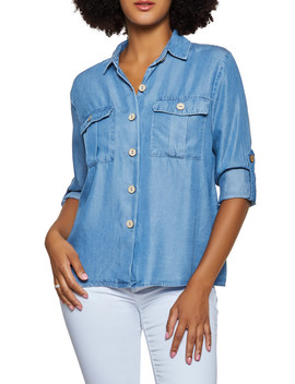 Chambray Cuffed Button Front Top by Rainbow