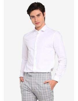 White Stretch Skinny Long Sleeve Shirt by Topman