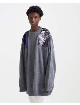 Oversized Knit With Shoulder Patches   Grey by Raf Simons
