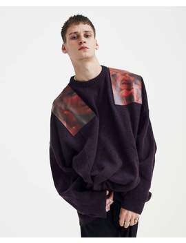 Oversized Knit With Shoulder Patches   Dark Aubergine by Raf Simons