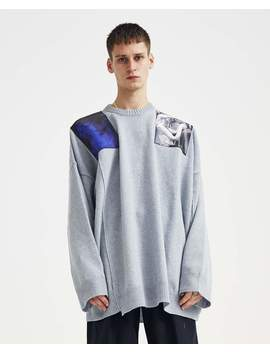 Oversized Knit With Shoulder Patches   Light Blue by Raf Simons