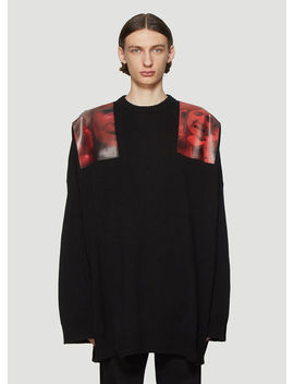 Oversized Photographic Shoulder Patch Sweater In Black by Raf Simons
