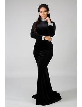 Velvet Rhinestone Maxi Dress by Gitionline
