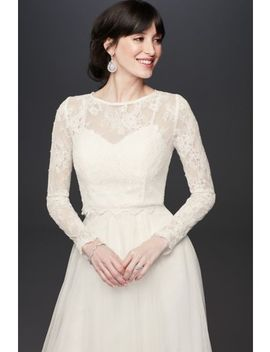 Long Sleeve Sheer Floral Lace Wedding Dress Topper by Fig By Madeleine Fig