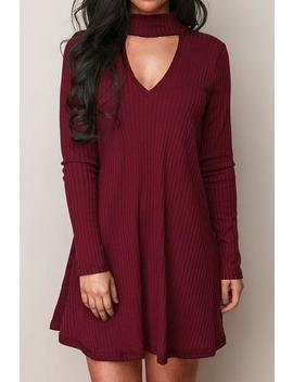 Ribbed Burgundy Mock Neck Cutout Dress by Cupshe