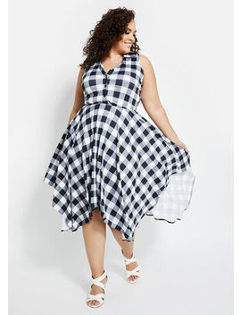 Gingham A Line Handkerchief Dress by Ashley Stewart