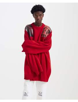 Oversized Knit With Shoulder Patches   Red by Raf Simons