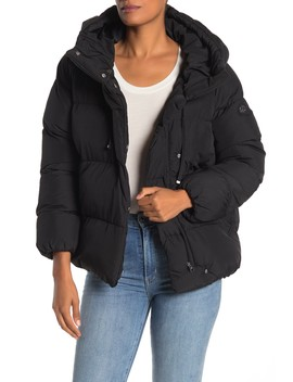 Hooded Asymmetrical Zip High/Low Puffer Jacket by Jessica Simpson