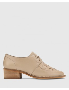 Frenton Light Nude Leather Weave Front Block Heel Brogue by Wittner
