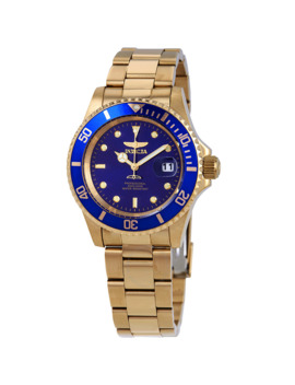 Pro Diver Gold Tone Blue Dial 40 Mm Men's Watch by Invicta