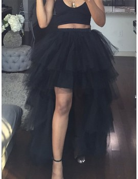 Black Grenadine Cascading Ruffle High Low Fluffy Puffy Tulle Ponytail Skirt by Cichic