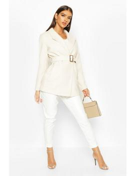 Belted Wool Look Blazer Coat by Boohoo