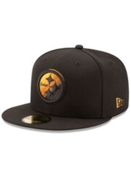 Men's Pittsburgh Steelers New Era Black Color Dim 59 Fifty Fitted Hat by Nfl