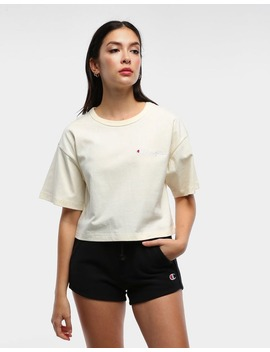 Champion Women's Heritage Mini Script Tee Chalk White by Champion