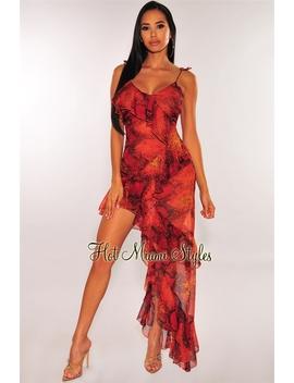 Lava Snake Print Ruffle Slit Maxi Dress by Hot Miami Style