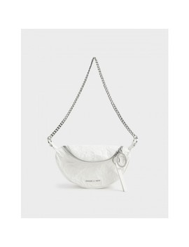 Wrinkled Effect Ring Zip Tassel Crossbody Bag by Charles & Keith