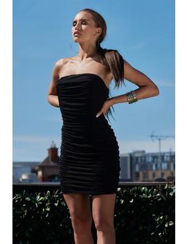 Black Strapless Bandeau Dress by Club L London