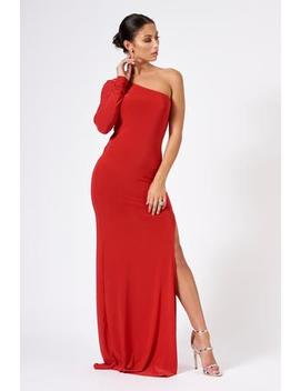 Red One Shoulder Split Maxi Dress by Club L London