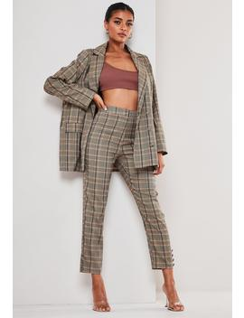 Brown Co Ord Check Button Hem Cigarette Trousers by Missguided