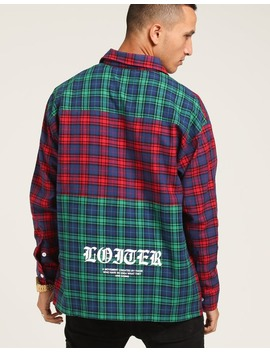 Loiter Nyc Colour Block Tartan Button Up Flannel Magenta/Green by Loiter Nyc