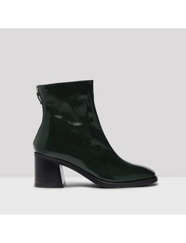 Cybil Bottle Green Patent Leather Boots by Miista