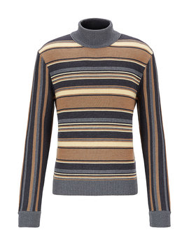 Multi Stripe Mock Neck Sweater In Wool by Boss