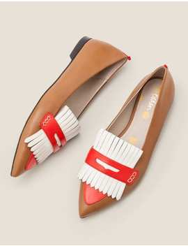 Bea Fringe Flats   Gingerbread/Post Box Red by Boden