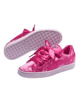 Beetroot Purple &Amp; Silver Basket Heart Velour Jr Sneaker   Girls by Puma