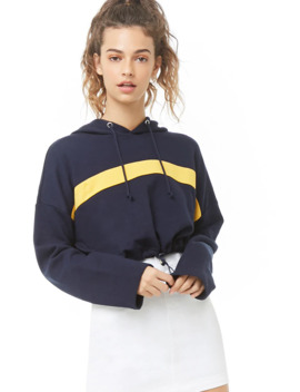 Striped Trim Cropped Hoodie by Forever 21