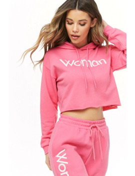 Woman Graphic Cropped Hoodie by Forever 21