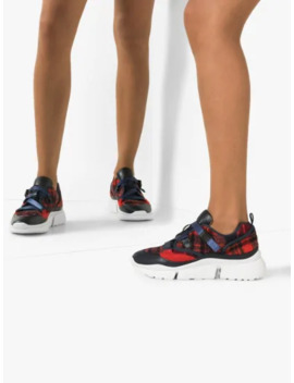 Red And Blue Sonnie Checked Sneakers by Chloé