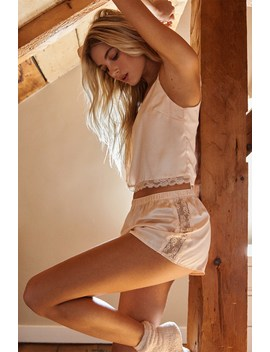 Lace Trim Satin Sleep Shorts by Garage