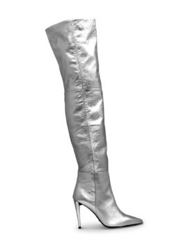 Latino Silver Crunch Long Boots by Tony Bianco
