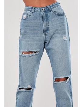 Jeans Bleu Clair Taille Haute Déchiré Stassie X Missguided by Missguided