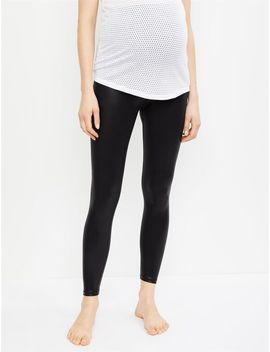 Beyond The Bump Coated Fold Over Belly Maternity Leggings by A Pea In The Pod