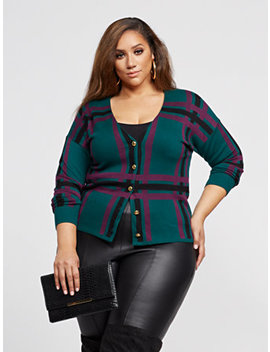 Debbi Plaid Button Up Cardigan Sweater by Fashion To Figure