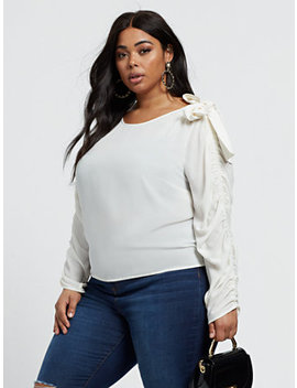 Verity Ruched Sleeve Bow Shoulder Top by Fashion To Figure