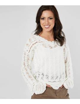 Crochet Lace V Neck Sweater by Miss Me