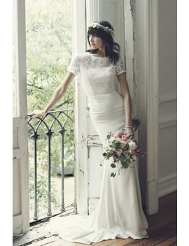 Geometric Lace And Crepe Cap Sleeve Wedding Dress by Galina