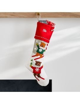 Skiing Holiday Bears Stocking by Crate&Barrel