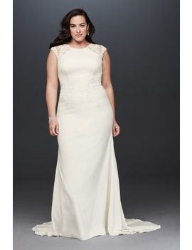 Cap Sleeve Crepe Plus Size Sheath Wedding Dress by David's Bridal Collection