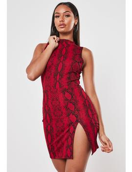 red-snake-print-high-neck-mini-dress by missguided