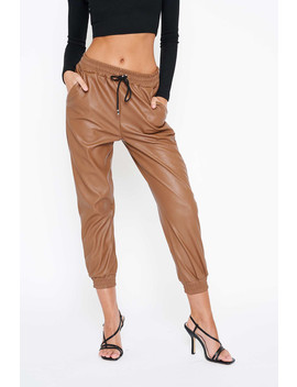 tan-drawstring-vegan-leather-pants by luxe-to-kill