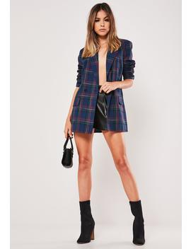 navy-plaid-co-ord-oversized-blazer by missguided