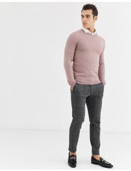 asos-design-muscle-fit-merino-wool-jumper-in-pink by asos-design