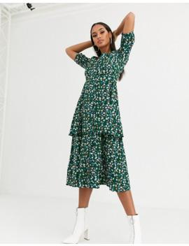 missguided---robe-mi-longue-à-volants-étagés-et-motif-fleurs---vert by missguided