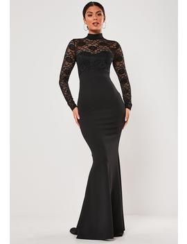 black-lace-long-sleeve-maxi-dress by missguided